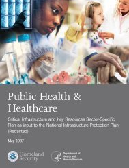 2007 Healthcare and Public Health Sector Specific Plan - PHE Home