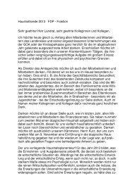 Haushaltsrede 2013 der FDP-Fraktion - Ostalbkreis