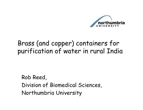 Brass and copper containers for purification of water in