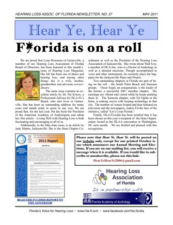 May 2011 E-Newsletter-REV - Hearing Loss Association of Florida