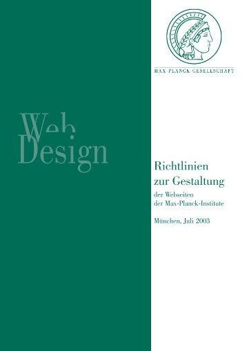 Richtlinien zur Gestaltung - MPG HLL - Max-Planck-Gesellschaft