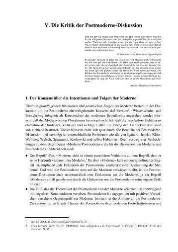 V. Kritik der Postmoderne Diskussion - Schnell-heisch.de