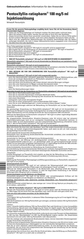 Pentoxifyllin-ratiopharm® 100 mg/5 ml ... - pharma-fuchs.de