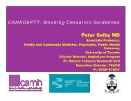 Smoking Cessation Guidelines - CAMH - Nicotine Dependence Clinic