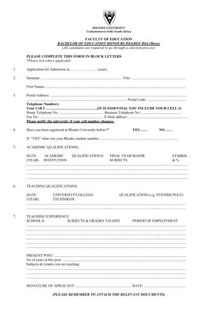 Please Complete This Form In Block Letters Rhodes University