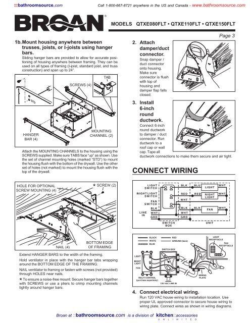 [SCHEMATICS_43NM]  Installation Instructions - Fan / Light - Part 2 - KitchenSource.com   Broan Wiring Diagram Install Guide      Yumpu
