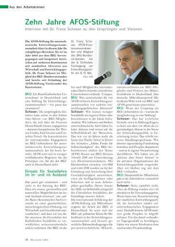 Zehn Jahre AFOS-Stiftung - BKU