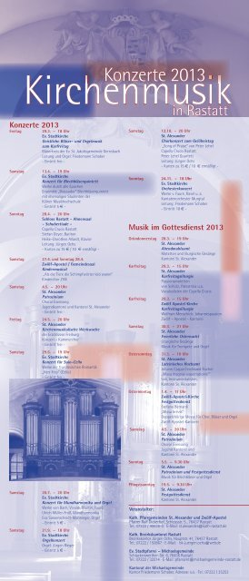 Jahresprogramm Kirchenmusik 2013 (PDF) - Kath-Rastatt