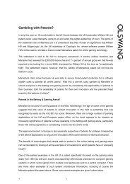 Gambling with Patents - Olswang