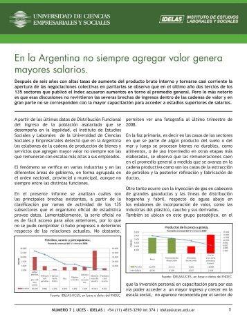 En la Argentina no siempre agregar valor genera mayores ... - UCES