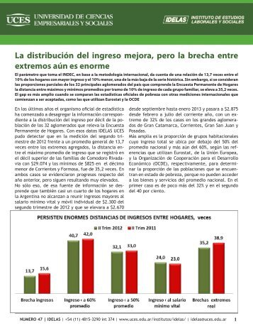 La distribución del ingreso mejora, pero la brecha entre ... - UCES