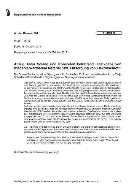 11.5139.02, Schreiben des RR - Grosser Rat - Kanton Basel-Stadt