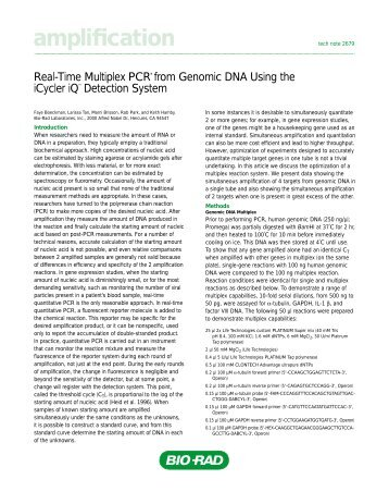 Real-Time Multiplex PCR from Genomic DNA Using - Bio-Rad