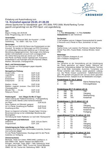 Ausschreibung 14. Kronshof-special - Isi Trail