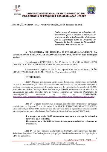 INSTRUÇÃO NORMATIVA PROPP Nº 001/2012, de 09 de março de ...