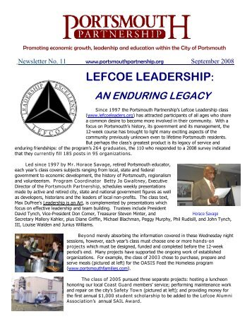 Lefcoe Leadership, An Enduring Legacy - Portsmouth Partnership