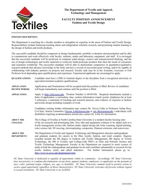 Faculty Positions College Of Textiles North Carolina State University