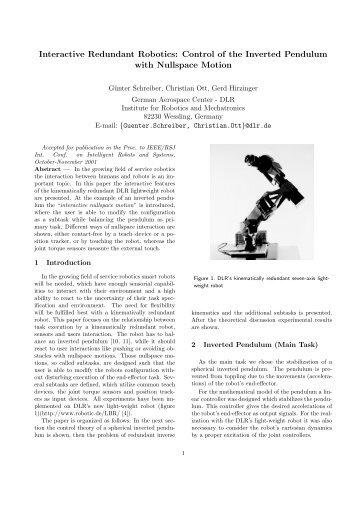 Interactive Redundant Robotics: Control of the Inverted Pendulum ...