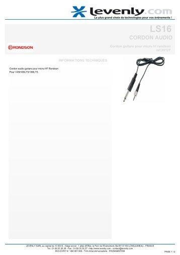 Fiche produit RONDSON - LS16, CORDON AUDIO ... - Levenly