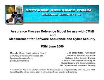 Assurance Process Reference Model for use with CMMI - Practical ...