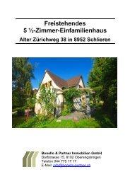 5 ½ Zimmer-Einfamilienhaus - Bonello & Partner Immobilien GmbH