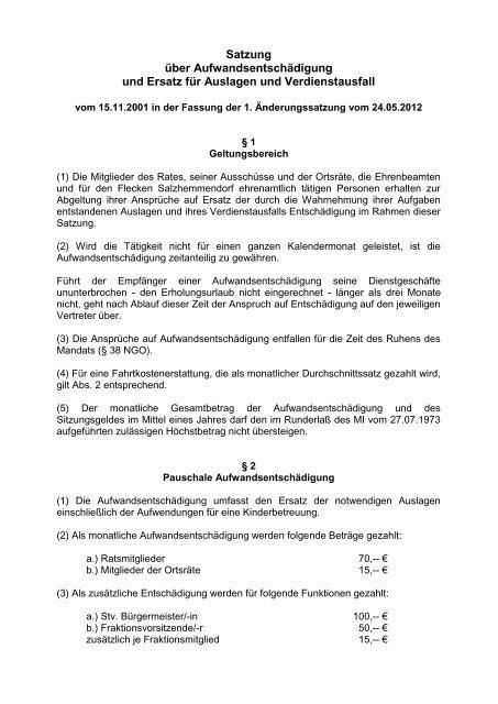 Satzung - Flecken Salzhemmendorf