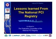 Lessons learned From The National PCI Registry - summitMD.com