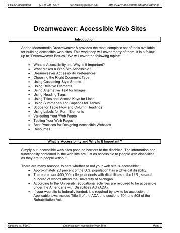 Dreamweaver: Accessible Web Sites