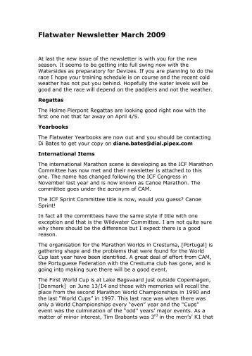 Flatwater Newsletter March 2009 - Canoe England