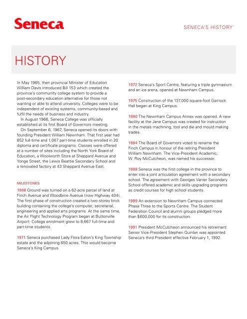 History Seneca College