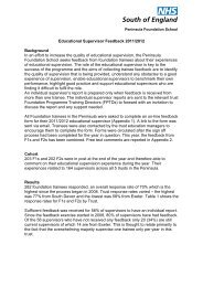 Educational Supervisor Feedback report 2012 - South West ...