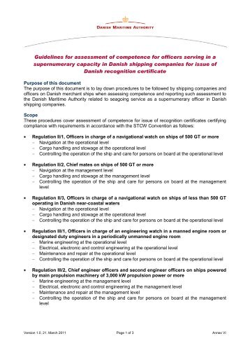 Annex VI: Assessment of competence (1 months) - Danish Maritime ...