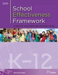 2010 School Effectiveness Framework - Ministère de l'éducation