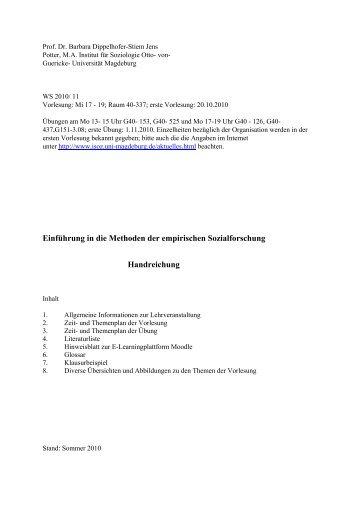 Einführung in die Methoden der empirischen Sozialforschung ... - ISOZ
