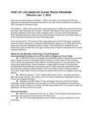 Clean Truck Program Fact Sheet - The Port of Los Angeles