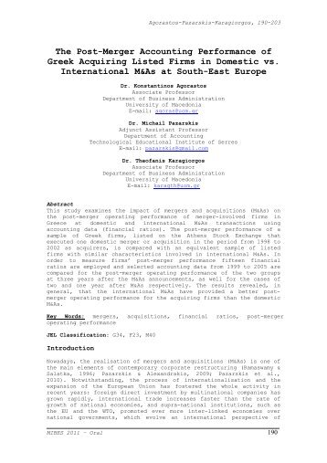 The Post-Merger Accounting Performance of Greek ... - mibes