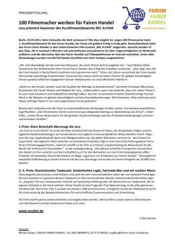 100 Filmemacher werben für Fairen Handel - ELAN