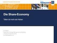 Die Share-Economy Teilen ist mehr als Haben