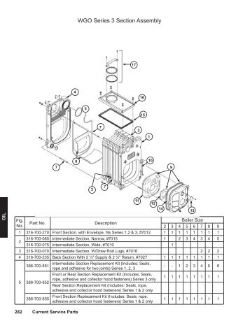 Ultra Oil Boiler Section Assembly Parts