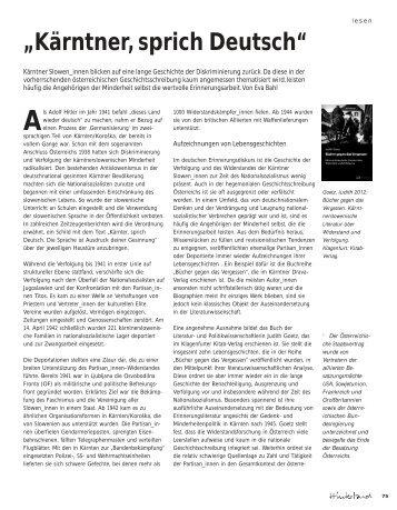"""""""Kärntner, sprich Deutsch"""" - Hinterland Magazin"""