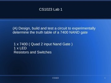 CS1023 Lab 1 (A) Design, build and test a circuit to experimentally ...
