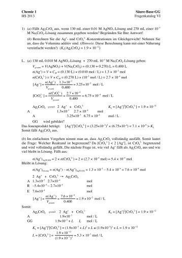 Chemie 1 Säure-Base-GG HS 2012 Fragenkatalog VI 1) (a) Fällt ...