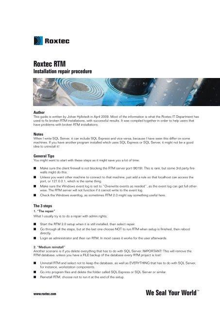 RTM Installation Repair Procedure (PDF) - Roxtec