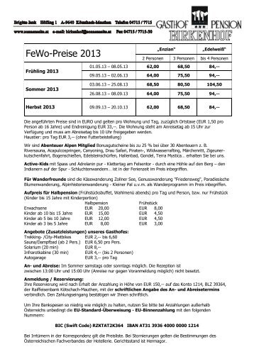Preisliste und Beschreibung als PDF (249kB) - Gasthof Pension ...