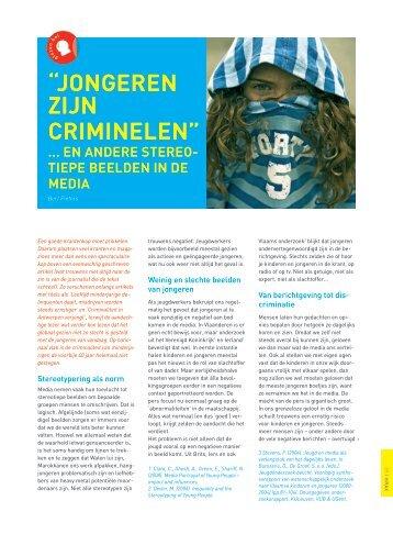 """""""Jongeren zijn criminelen"""" (pdf, 317KB) - Steunpunt Jeugd"""