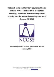 Joint COSS submission to the Senate Inquiry into the NDIS
