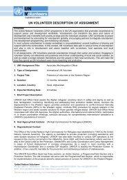 Un volunteer description of assignment - United Nations Volunteers