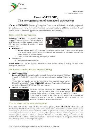 Autoradio Bluetooth Parrot Rki8400 - Parrot.com Blog