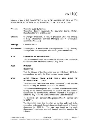 Minutes of the AUDIT COMMITTEE - Buckinghamshire Fire and ...