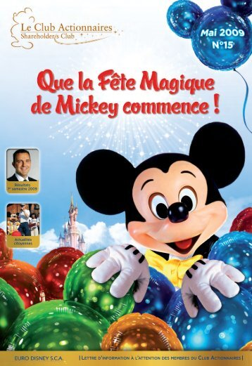lettre du club actionnaire N°15 - Euro Disney SCA - Disneyland® Paris